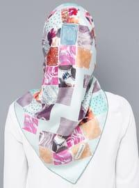 Multi - Printed - %100 Silk - Scarf