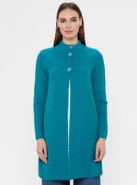 Turquoise - Unlined - Crew neck - Acrylic -  - Jacket