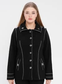 Black - Point Collar - Unlined -  - Plus Size Jacket