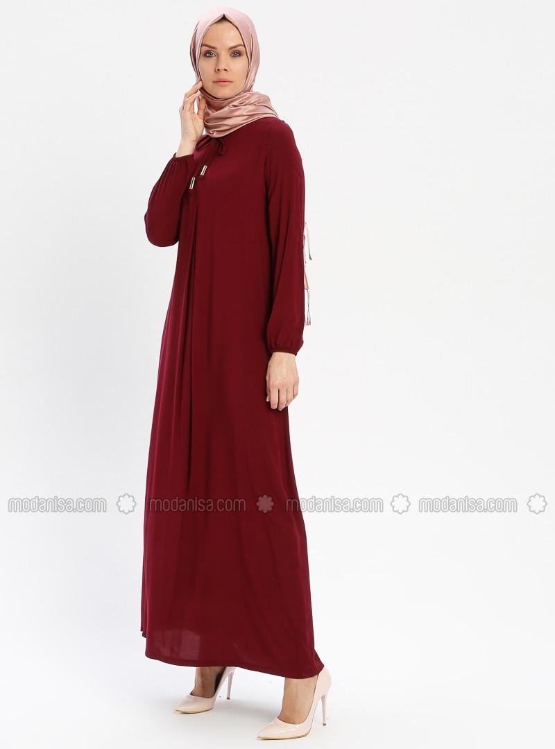 Maroon - Crew neck - Unlined - Viscose - Dress - BAGİZA