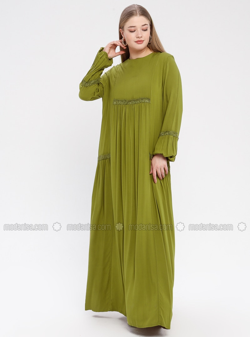 Olive Green - Unlined - Crew neck - Viscose - Plus Size Dress - Ginezza