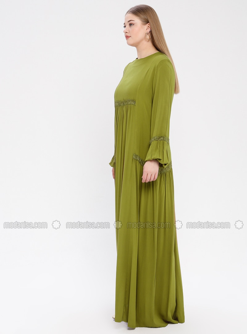 Olive Green - Unlined - Crew neck - Viscose - Plus Size Dress