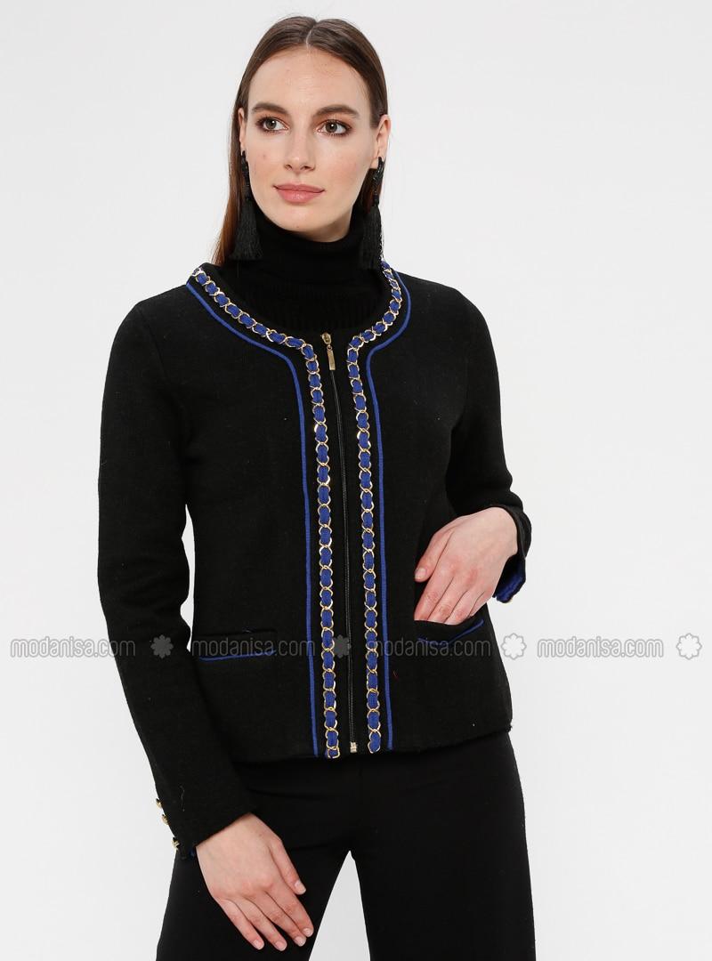 Black - Saxe - Unlined - Crew neck -  - Jacket