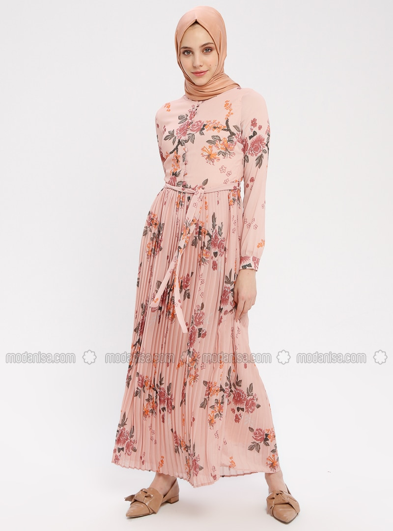 Powder - Floral - Crew neck - Fully Lined - Dress