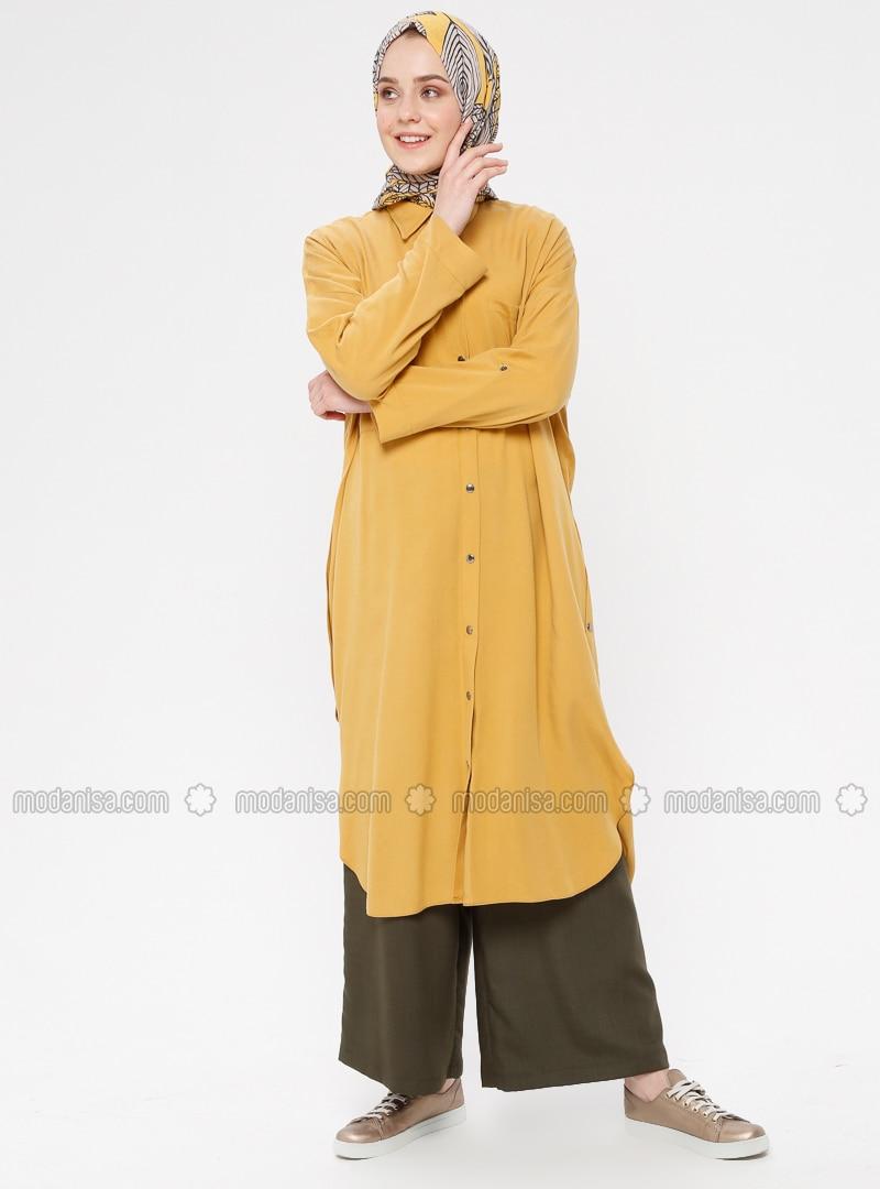 Mustard - Unlined - Point Collar - Cotton - Topcoat