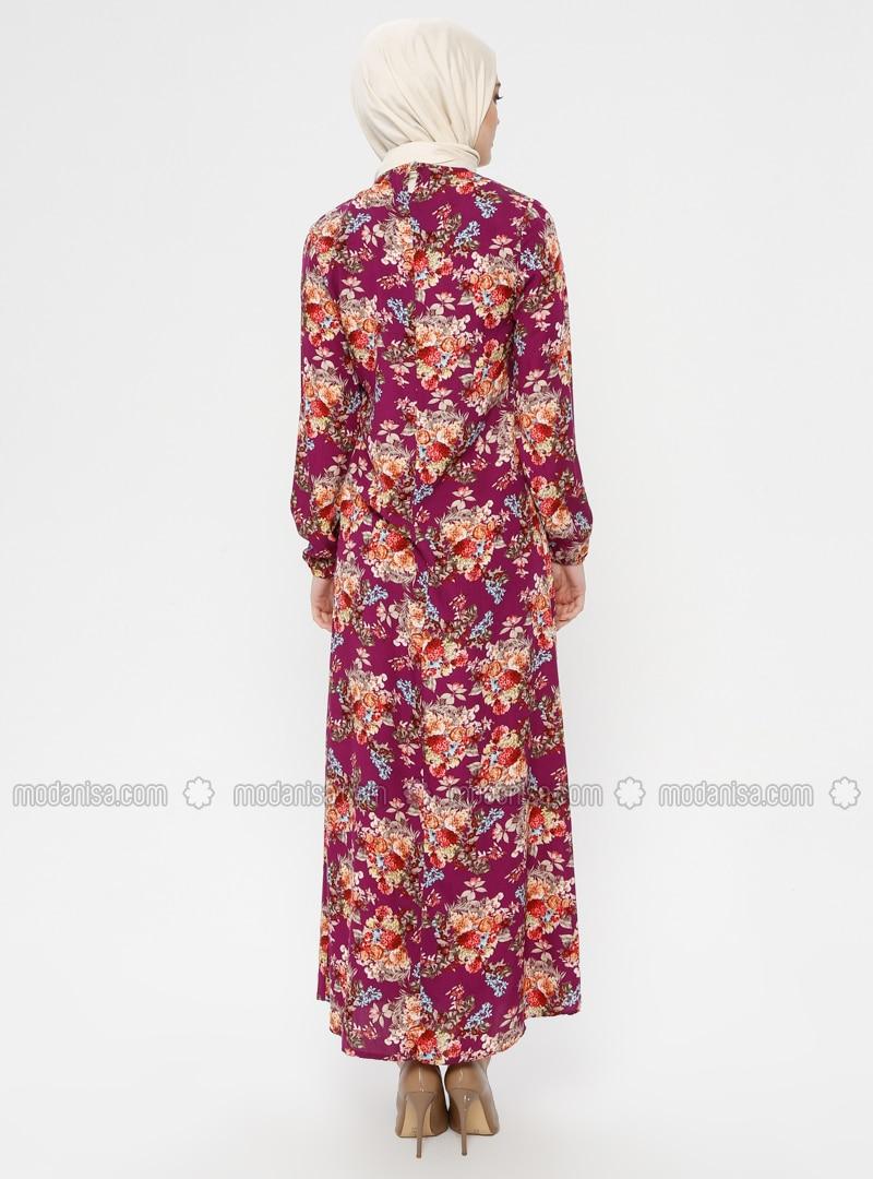 4da60482c3d8f Çiçek Desenli Elbise - Bordo