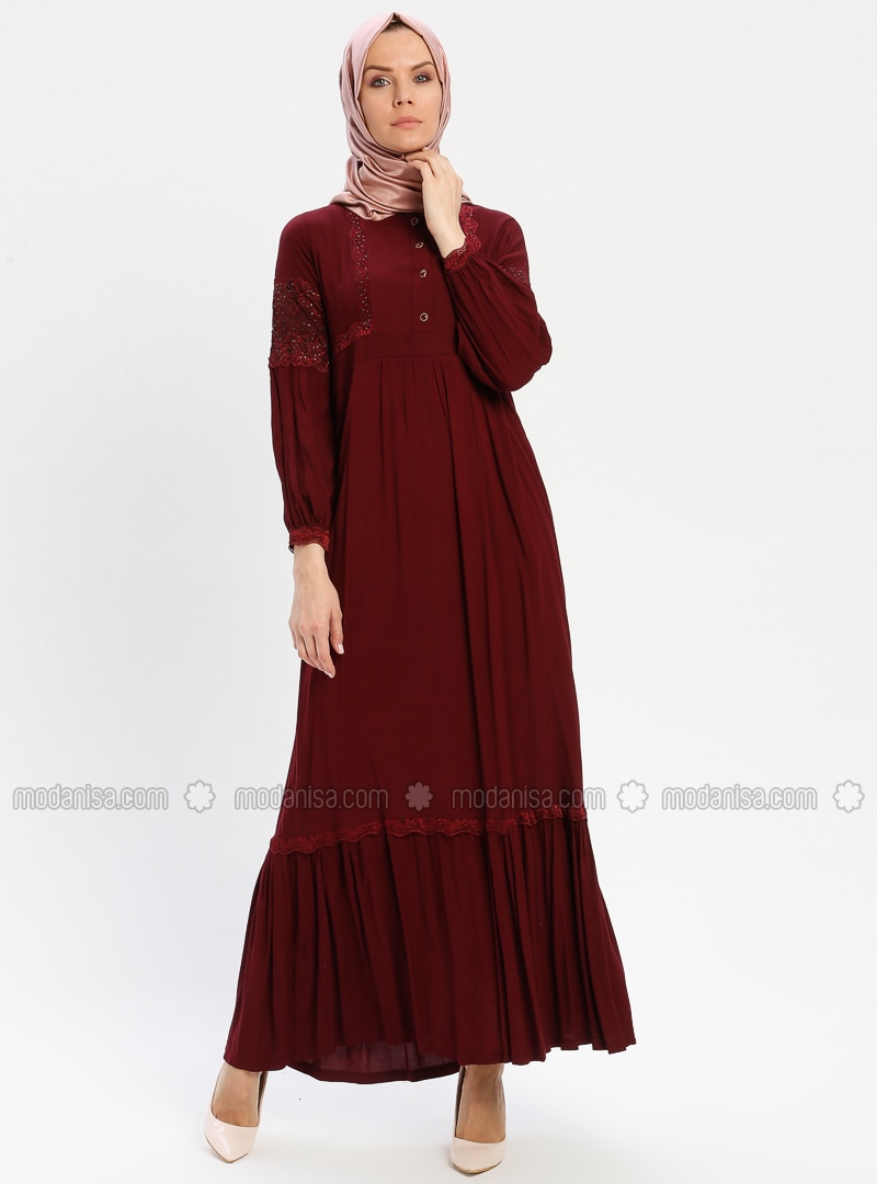 Maroon - Unlined - Crew neck - Viscose - Plus Size Dress - BAGİZA