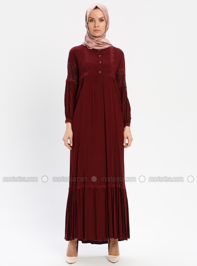 Maroon - Unlined - Crew neck - Viscose - Plus Size Dress - BAGİZA