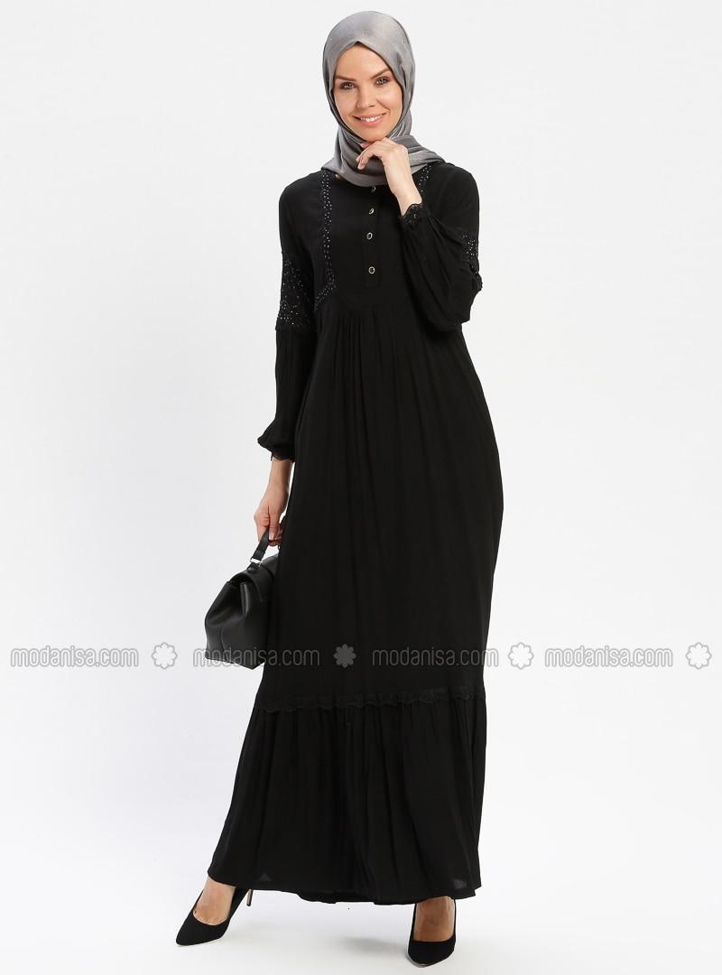 Black - Unlined - Crew neck - Viscose - Plus Size Dress - BAGİZA