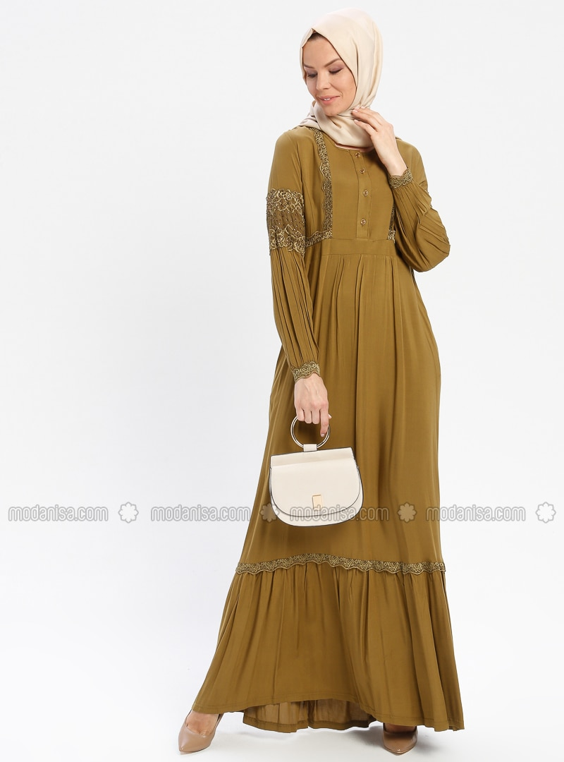 Olive Green - Unlined - Crew neck - Viscose - Plus Size Dress - BAGİZA