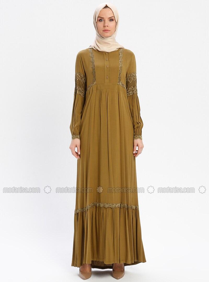 Olive Green - Unlined - Crew neck - Viscose - Plus Size Dress - BAGİZA