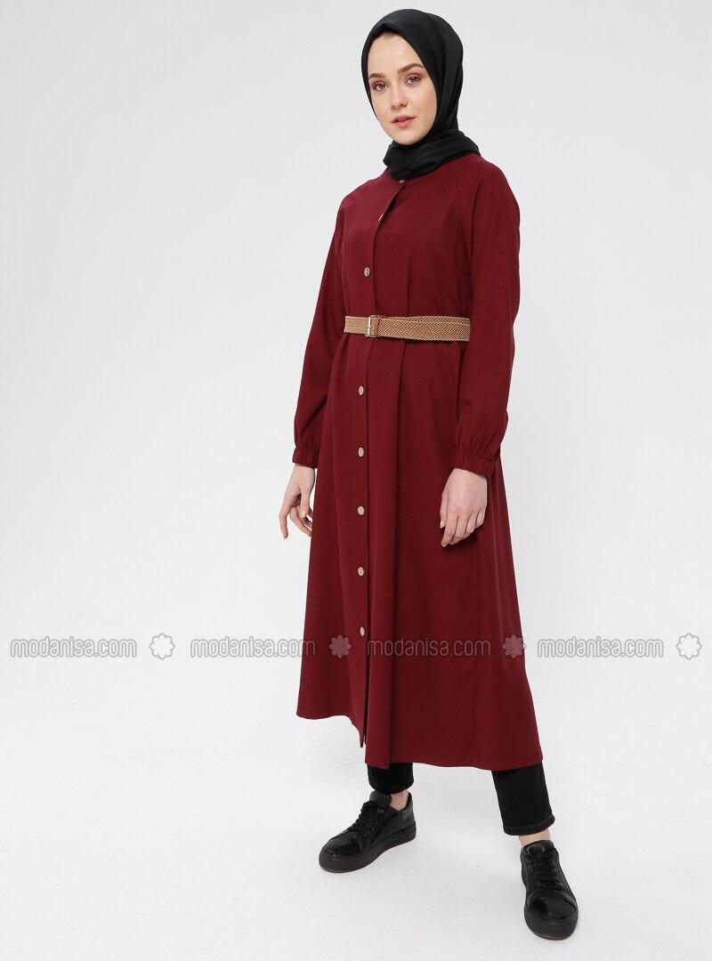 Maroon - Unlined - Crew neck - Cotton - Topcoat