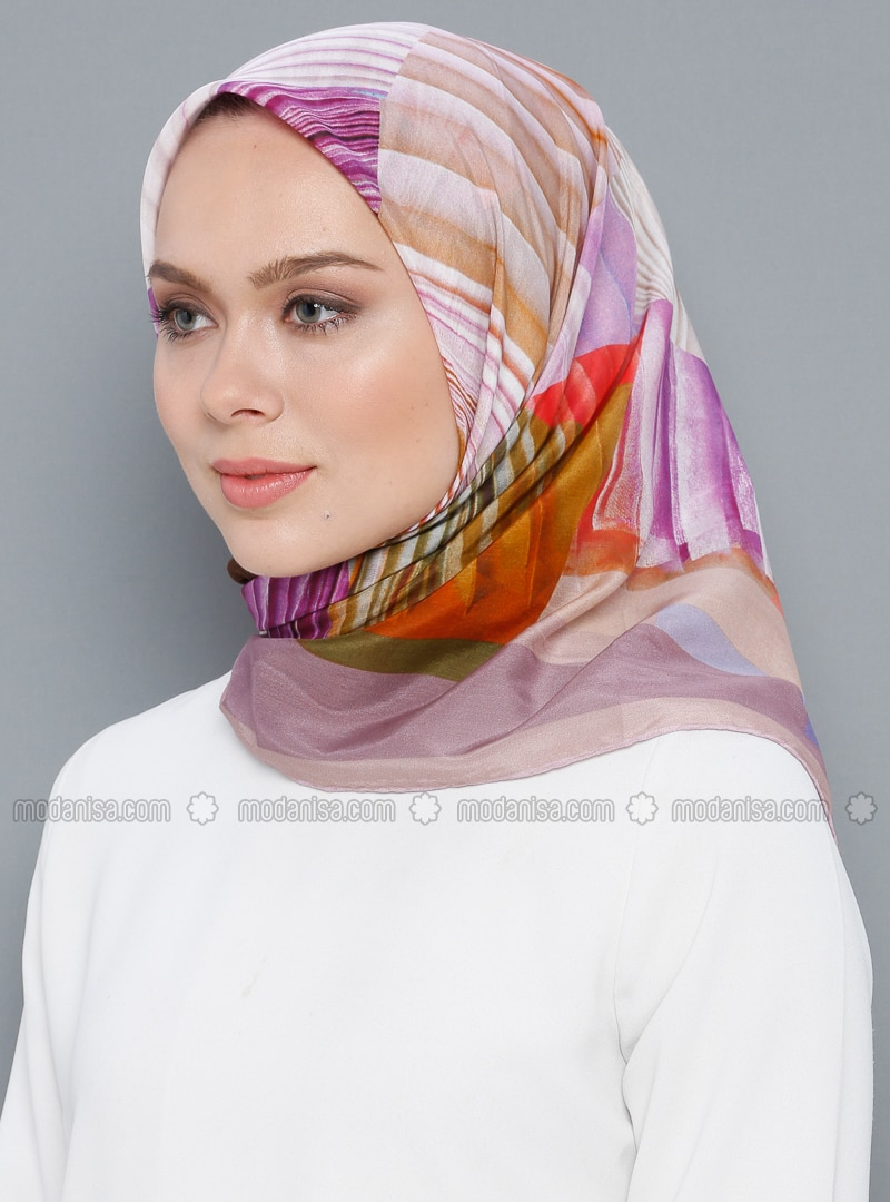 Multi - Printed - Silk Blend - Cotton - Scarf