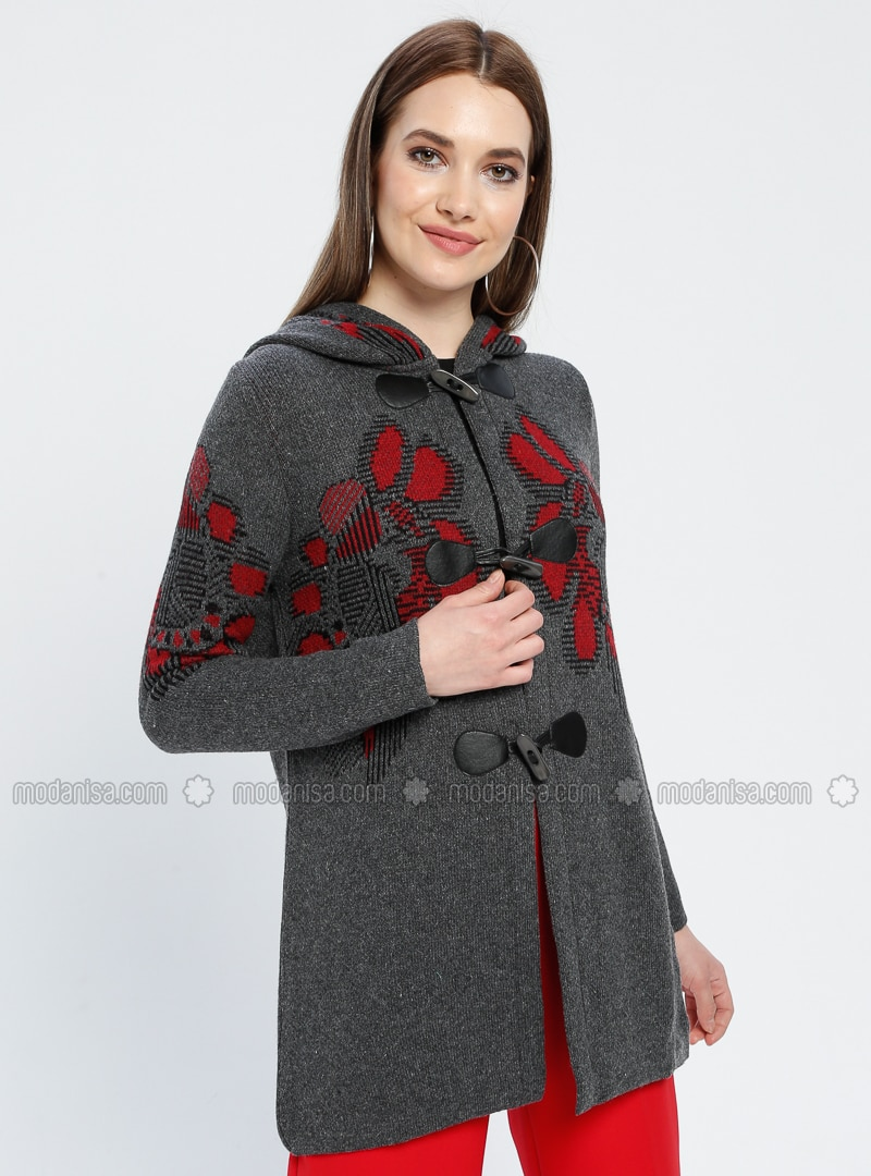 Gray - Floral - Unlined -  - Jacket