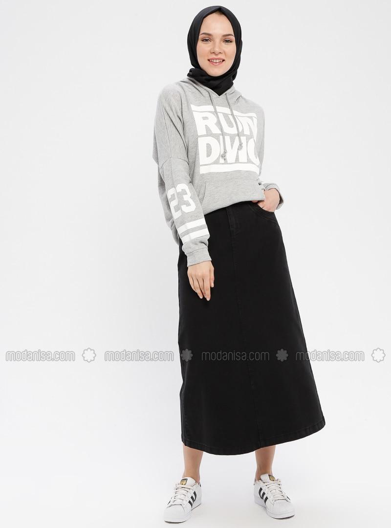 e6ecdee97b Black - Unlined - Cotton - Denim - Skirt. Fotoğrafı büyütmek için tıklayın