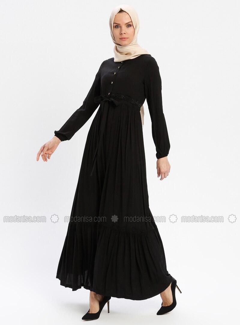 2c9722be55f75 Black - Unlined - Crew neck - Viscose - Plus Size Dress - BAGİZA. Fotoğrafı  büyütmek için tıklayın