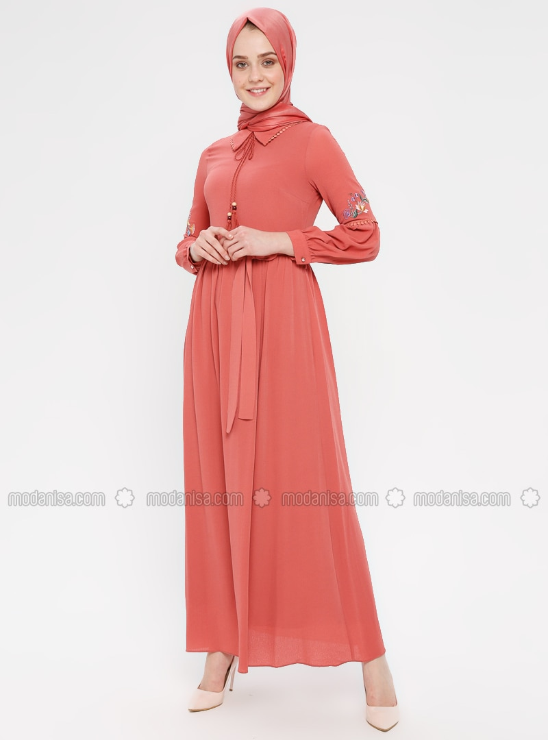 Salmon - Point Collar - Fully Lined - Cotton - Dress