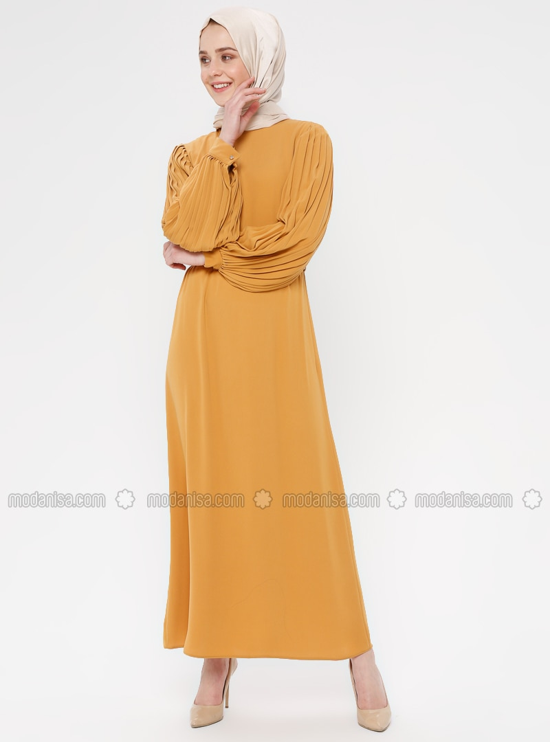 Mustard - Polo neck - Unlined - Cotton - Dress