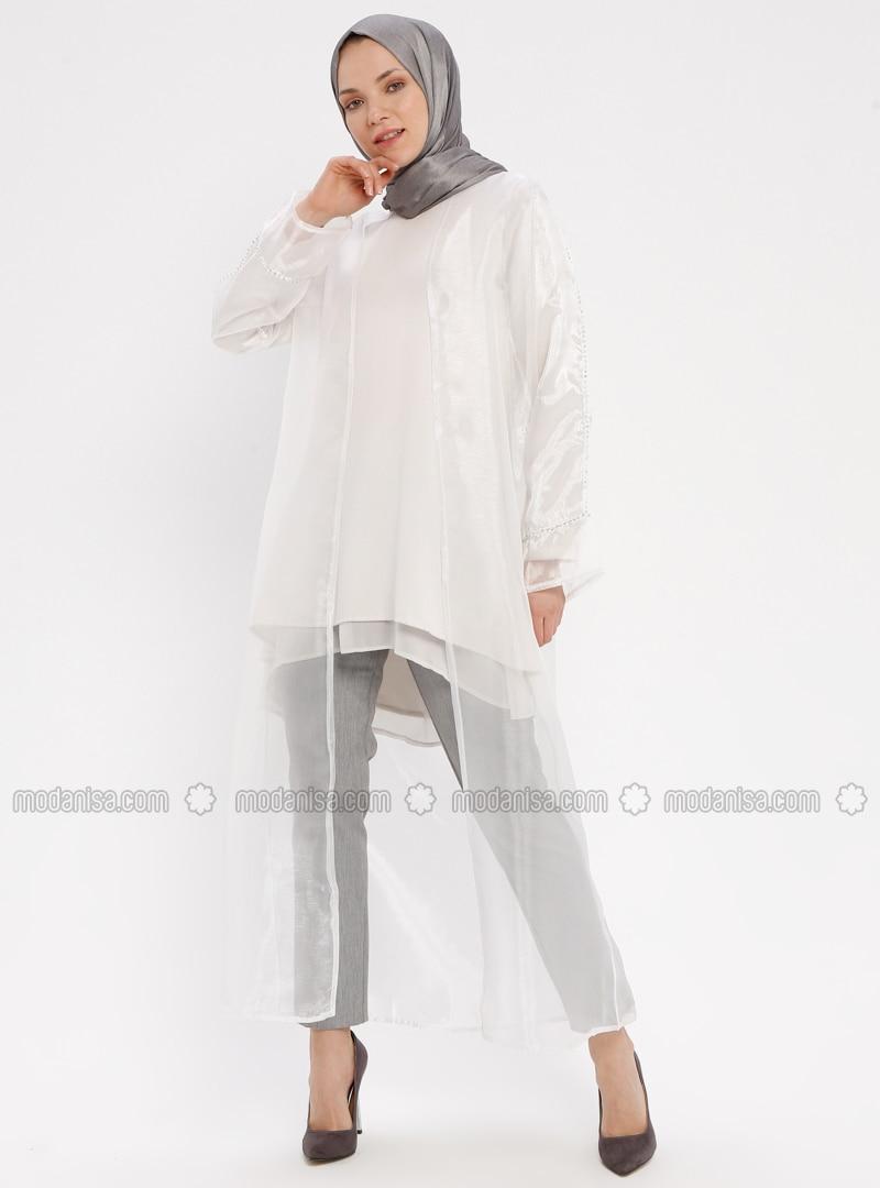 White - Ecru - Unlined - Crew neck - Abaya