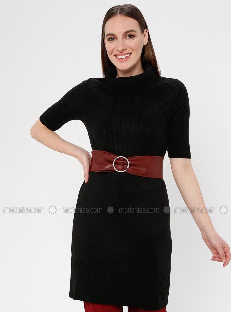 Black - Polo neck - Unlined - Acrylic -  - Tunic