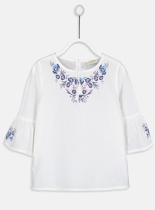 Ecru - Printed - Girls` Blouse