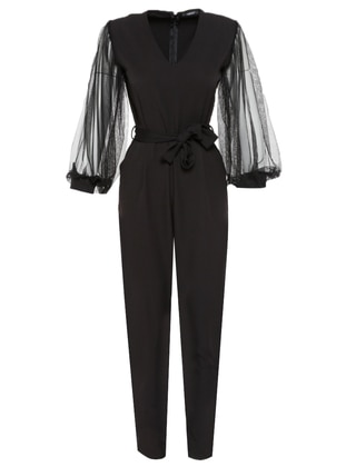 Black - Unlined - V neck Collar - Jumpsuit - Kaktüs
