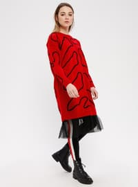 Red - Multi - Crew neck - Acrylic - Tunic