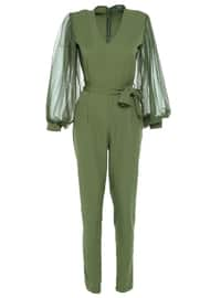 Khaki - Unlined - V neck Collar - Jumpsuit