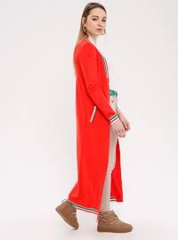 Red - Stripe - Shawl Collar - Acrylic - Cardigan