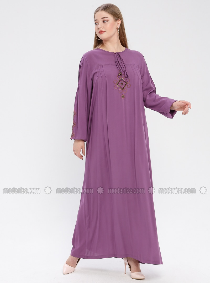 Lilac - Unlined - Crew neck - Viscose - Plus Size Dress - Ginezza