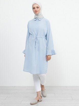 Blue - Point Collar - Cotton - Viscose - Tunic