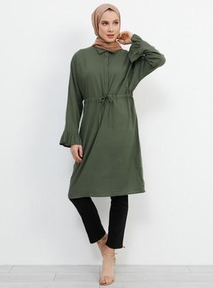 Khaki - Point Collar - Cotton - Viscose - Tunic