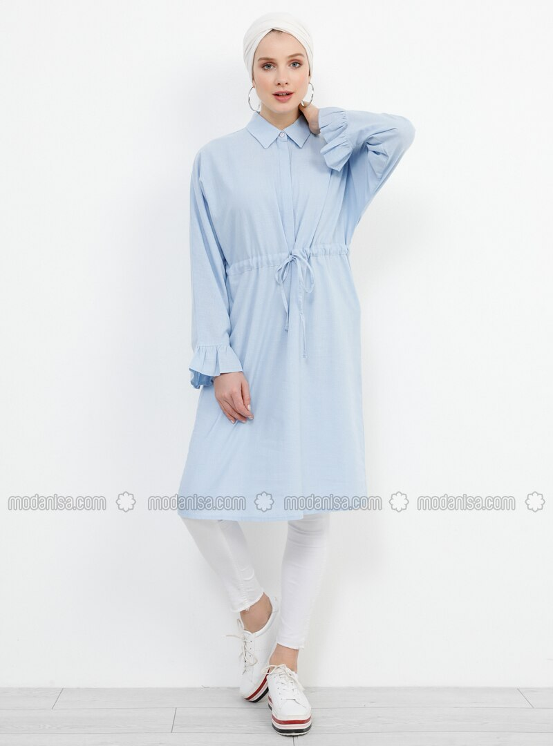 Blue - Point Collar - Cotton - Viscose - Tunic