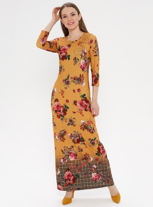 Yellow - Floral - Multi - Crew neck - Unlined - Dress