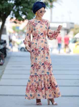 Salmon - Floral - Unlined - Dress