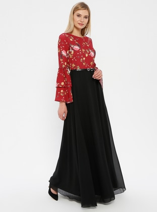 Black - Maroon - Floral - Crew neck - Fully Lined - Dress