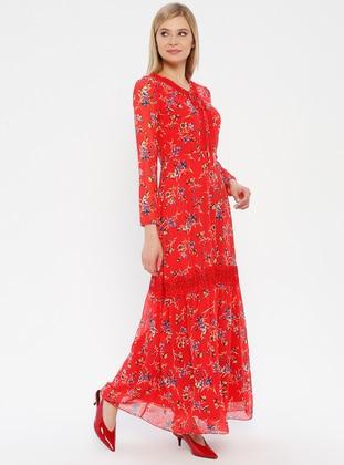 Coral - Floral - V neck Collar - Fully Lined - Dress