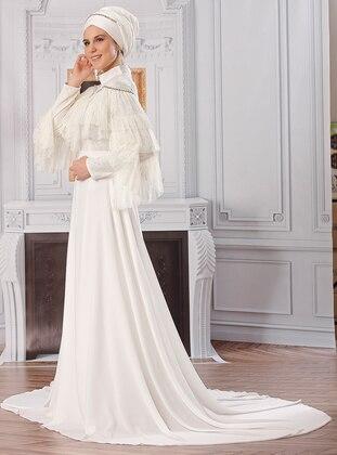 Ecru - Fully Lined - Polo neck - Chiffon - Muslim Evening Dress