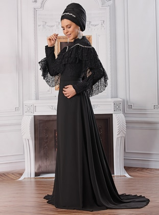 Black - Fully Lined - Polo neck - Chiffon - Muslim Evening Dress