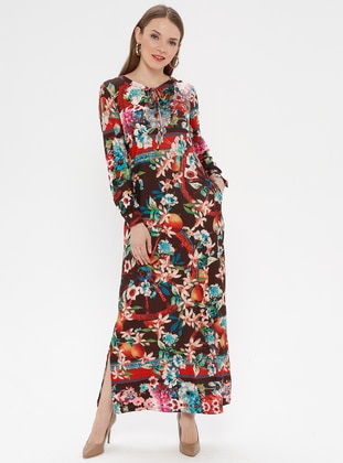 Brown - Floral - Multi - Unlined - Dress