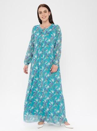 Mint - Floral - V neck Collar - Fully Lined - Dress