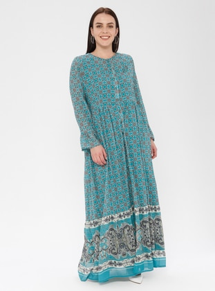Mint - Ethnic - Crew neck - Fully Lined - Dress