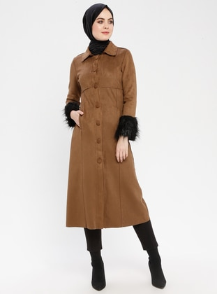 Camel - Unlined - Point Collar - Coat
