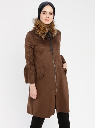Brown - Unlined - Crew neck - Coat