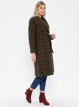 Green - Plaid - Unlined - Shawl Collar - Topcoat