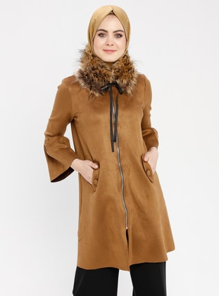 Tan - Unlined - Crew neck - Coat