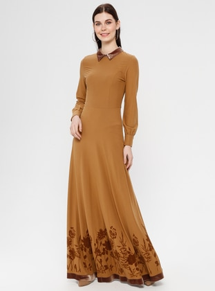 Mustard - Floral - Point Collar - Unlined - Dress