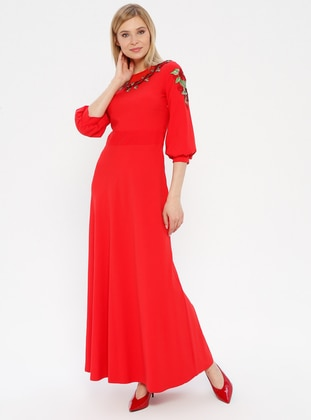 Coral - Crew neck - Unlined - Dress