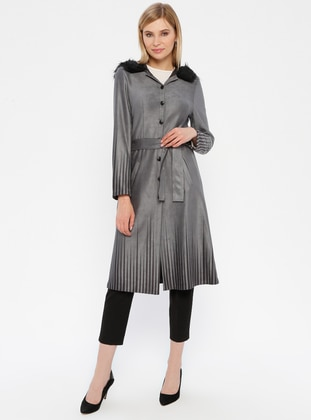 Gray - Stripe - Unlined - Button Collar - Topcoat