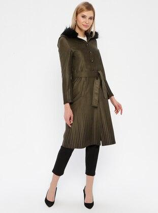 Khaki - Stripe - Unlined - Button Collar - Topcoat